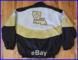 Apex One NFL NEW ORLEANS SAINTS Puffy Throwback Vintage Black Jacket Mens Small