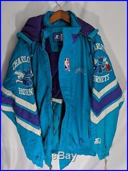 Deadstock with Tags DWT Charlotte Hornets Vintage Starter Jacket Mens XL 90s