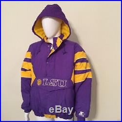 EUC VTG 90s LSU TIGERS Hoodie Hood Starter Quilted PULLOVER Jacket Coat Mens XL