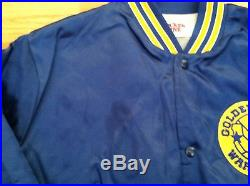 GOLDEN STATE WARRIORS Vintage Satin NBA Jacket STARTER Style Locker Line Blue XL