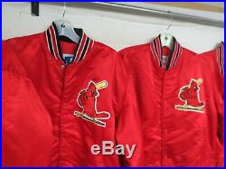 LOT OF 6 VINTAGE STARTER ST LOUIS CARDINALS SATIN JACKETS 80s 90s SNAP MLB ADULT