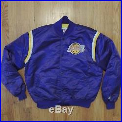 Los Angeles Lakers Vintage 80s Starter Satin Jacket Mens Purple NBA Size XL