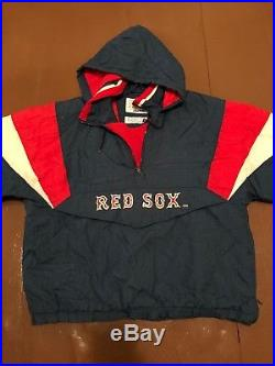 Mens Vintage Starter Boston Red Sox Jacket XL Sewn Hooded Stitched VTG Rare