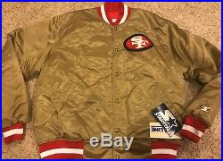 NWT VTG 80's Starter San Francisco 49'ers Gold Satin Jacket Men's XXL RARE