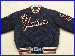 New York Yankees Casual Starter Bomber Quilted Jacket Blue Vintage Size M Tip