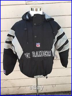 Oakland Raiders Pro Line Starter Pullover Hooded Puffy Jacket Vintage Size Med