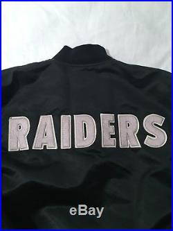 RARE Vintage Starter 90s Oakland Raiders Spell Out Satin Jacket Size L