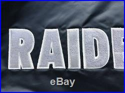 Rare Vintage Starter Los Angeles Raiders Satin Spell Out Jacket Coat Size XL NFL