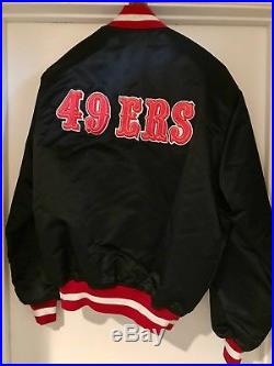 SF 49ers Vintage Black Satin Starter Jacket L