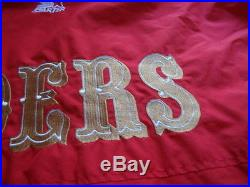 San Francisco 49ers Red & Gold Hooded STARTER Puffy Jacket VINTAGE XL Hat Mint