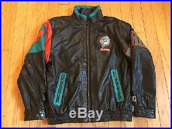 VINTAGE 1990's STARTER MIAMI DOLPHINS ALL LEATHER NFL JACKET MEN'S SIZE XL