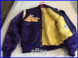 VINTAGE 80'S LOS ANGELES LAKERS STARTER SATIN JACKET SIZE L NBA Great Condition