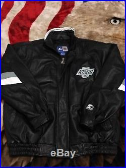 VTG 90s Starter LA Los Angeles Kings Leather Insulated Jacket XL Satin Gretzky