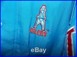 Very RARE, Vintage Starter Houston Oilers Bomber Hooded Insulated Jacket, Size M