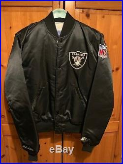 Very Rare Vintage 80s Oakland Raiders Starter Satin Bomber Jacket Size M