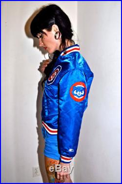 Vintage 80s CHICAGO CUBS Satin Button Down Youth Medium M Ladies Small S / XS