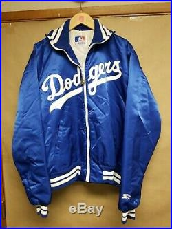 Vintage 80s LA DODGERS SATIN STARTER DUGOUT Full Zip JACKET XL USA MADE EUC