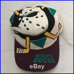 Vintage 90s Anaheim Mighty Ducks The Game Big Logo Snapback Hat Starter Rare Cap