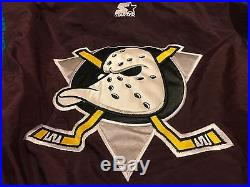Vintage 90s Starter Mighty Ducks NHL Pullover Jacket Adult Size Small BRAND NEW