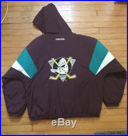 Vintage 90s Starter Mighty Ducks NHL Quilted Pullover Jacket Adult Size XL