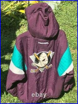 Vintage Anaheim Mighty Ducks Starter Jacket Hooded Pullover NHL Mens Size L