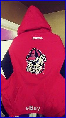 Vintage Georgia Bulldogs Throwback Pullover Puffy Parka Starter Jacket Large New