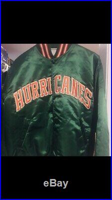 Vintage Miami Hurricanes Satin Starter Jacket Large Rare 80s 90s 1st Edition