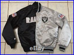 Vintage NFL Starter Oakland Raiders Reversible Satin Bomber Jacket size men's L
