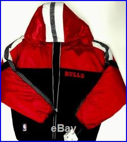Vintage NWT 90s Chicago Bulls L Puffy Insulated Starter Jacket Coat Hooded