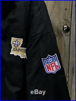Vintage New Orleans Saints Starter Jacket Adult XL Puffer Hooded Full Button Zip