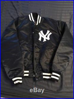 Vintage New York Yankees STARTER Satin Blue Jacket Patches Made in USA Large