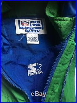 Vintage RARE Seattle Seahawks Starter Jacket! Sz L Mint Condition Hooded Parka