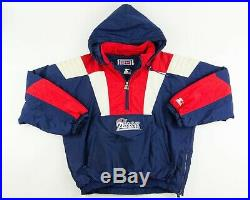 Vintage Starter Jacket New England Patriots Pullover 90's Front Pouch XL RARE