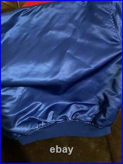 Vintage Starter MLB Montreal Expos Satin Bomber Jacket XL Blue Made in USA 90s