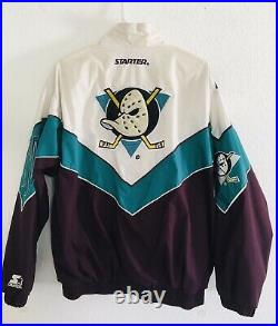 Vintage Starter Mighty Ducks Zip Up Jacket Sz M Teal White Burgundy Awesome