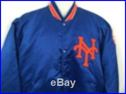 Vintage Starter New York Mets Satin Jacket 80s Snap Button A Few Stains Men's XL