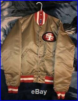 Vtg 1980's SF 49ERS Gold Satin Starter Jacket Pro Team Edition Adult Small USA