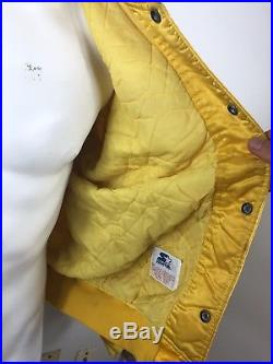 Vtg 80s LOS ANGELES LAKERS BACK TO BACK NBA CHAMPS YELLOW SATIN STARTER JACKET