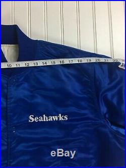Vtg 80s Seattle Seahawks Starter Jacket Large NFL Satin M L Amazing Condition