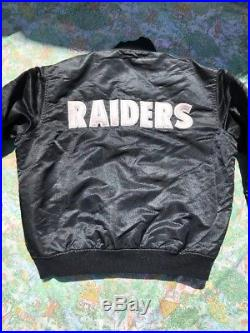 Vtg 90s OAKLAND RAIDERS Sewn Pro STARTER Satin NFL Football Jacket L USA