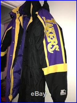 Vtg 90s Starter LA Lakers Jacket Parka Puffy Hoodie Duck Down Sleeve Spell Out L