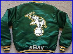 Vtg Oakland Athletics STARTER satin jacket A's 90s canseco mcgwire jersey hat M