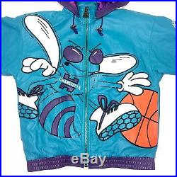 Vtg Rare NBA Charlotte Hornets Leather Starter Jacket. Men's XL