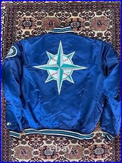 Vtg Seattle Mariners Double Sided Starter Satin Jacket size XL Made In USA